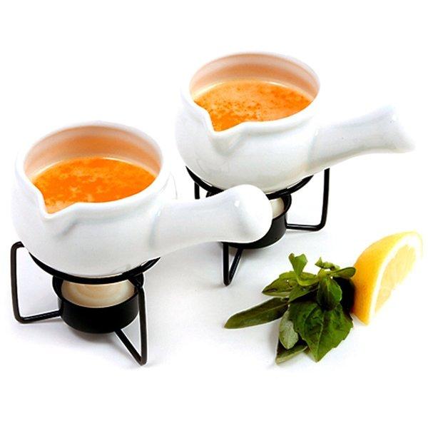 2-piece White Ceramic Butter Warmer Set