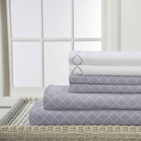 Revina Print Embroidered Microfiber Bed Sheet Set