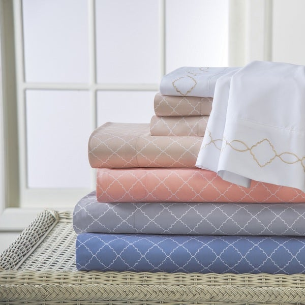 Revina Print Embroidered Microfiber Sheet Set