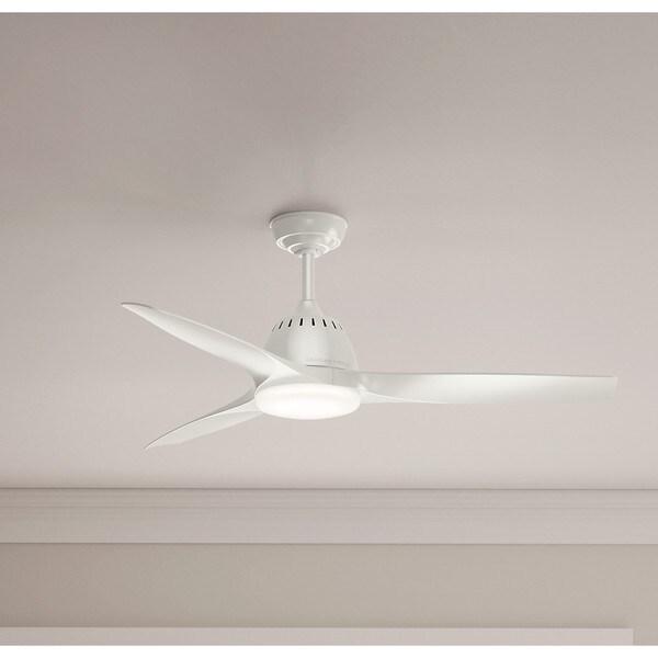 "Casablanca 44/"" Wisp Fresh White 3 Grey Blade Remote Light Ceiling Fan"