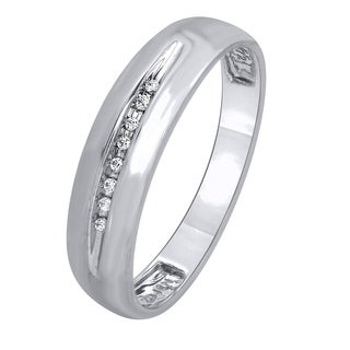 10k White Gold Men's Diamond Accent Wedding Ring