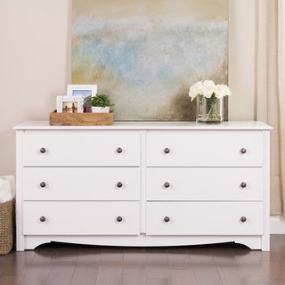 6-drawer Wood Dresser in White or Cherry Finish