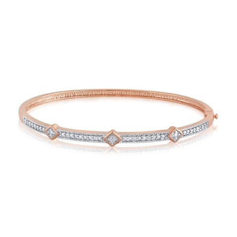 Divina Silver Overlay and Goldtone Diamond Accent Bangle - n/a