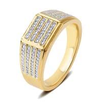 Divina Yellow Goldtone Men's Diamond Accent Four Row Ring