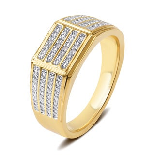 Divina Yellow Goldtone Men's Diamond Accent Four Row Ring