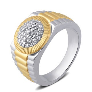 Divina Men's Two-tone I-J I2-I3 Diamond Accent Round Frame Ring (I-J,I2-I3)