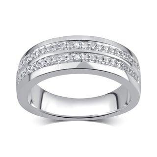 Divina Men's Silvertone Diamond Accent Double Row Ring