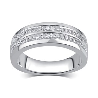 Divina Men's Silvertone Diamond Accent Double Row Ring