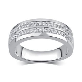 divina mens silvertone diamond accent double row ring - Overstock Wedding Rings