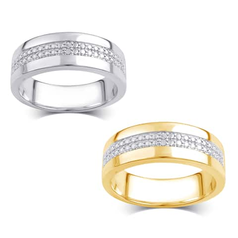 Divina Men's Silver Overlay and 14k Goldtone Diamond Accent Double Row Ring (I-J,I2-I3)