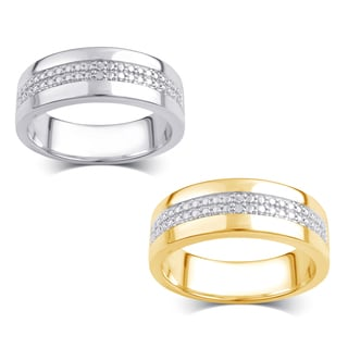 Divina Men S Silver Overlay And 14k Goldtone Diamond Accent Double Row Ring I J I2 I3