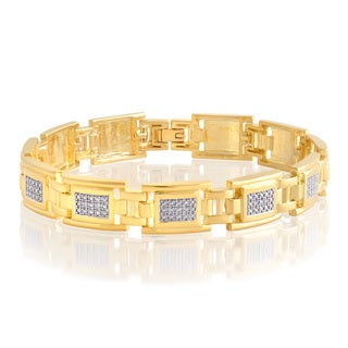 Divina 14k Goldtone Diamond Accent Men's Bracelet