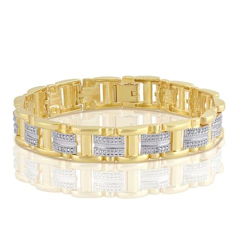 Divina 14K Gold-tone Brass Diamond Accent Men's Bracelet