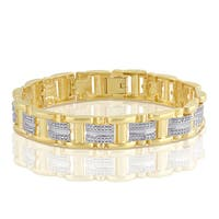Divina 14K Gold-tone Brass Diamond Accent Men's Bracelet