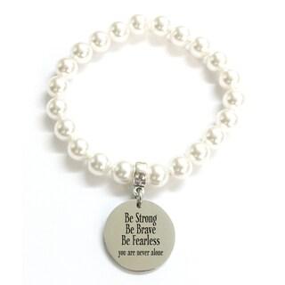 Pink Box 'Be Strong Be Brave' Swarovski Faux Pearl Stretch Bracelet