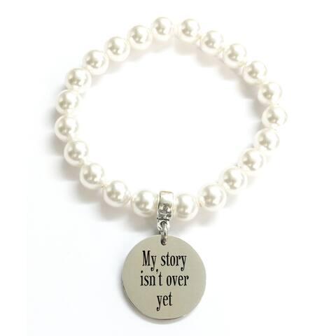 Pink Box 'My Story' Swarovski Pearl Stretch Bracelet