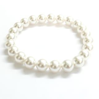 Pink Box Plain Swarovski Faux Pearl Stretch Bracelet