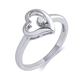 10k White Gold Diamond Accent Heart Fashion Ring