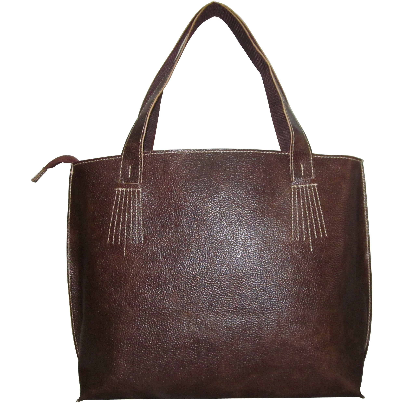 Amerileather Elegant Leather Tote (Brown), Women's