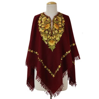 Handmade Wool 'Wine and Marigolds' Burgundy Embroidered Poncho (India)