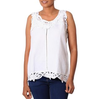 Handmade Linen Cotton Blend 'Summer Bliss' Top (India)