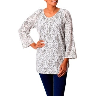Handmade Cotton 'Grey Beauty' Tunic (India) (4 options available)