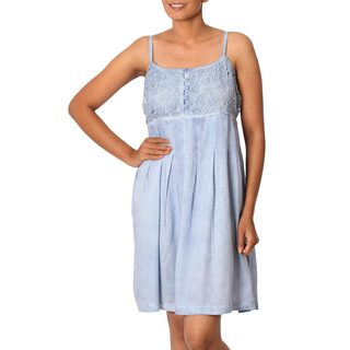 Handmade Viscose 'Powder Blue Morning' Sundress (India)