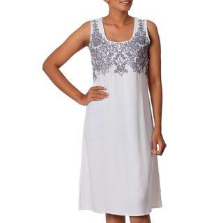 Handmade Viscose 'Smoke Grey Personality' Shift Dress (India)