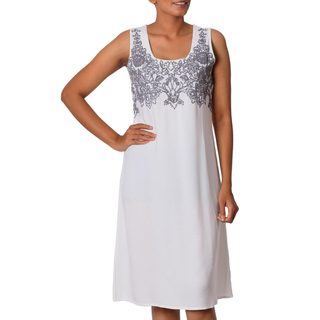 Handmade Viscose 'Smoke Grey Personality' Floral Embroidered Shift Dress Made In India (3 options available)