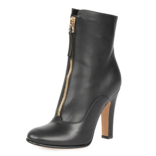 Valentino Women's Leather Matte Black Ankle Boots