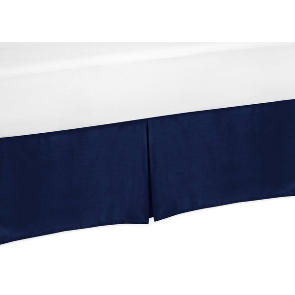 Sweet Jojo Designs Navy Blue and Orange Stripe Collection Bed Skirt