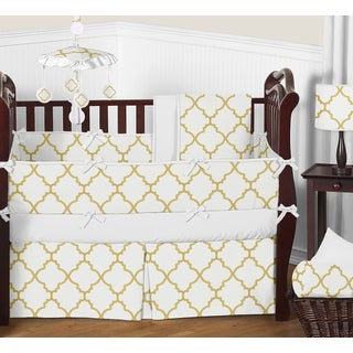 9pc Crib Bedding Set for the White and Gold Trellis Collection by Sweet Jojo Designs