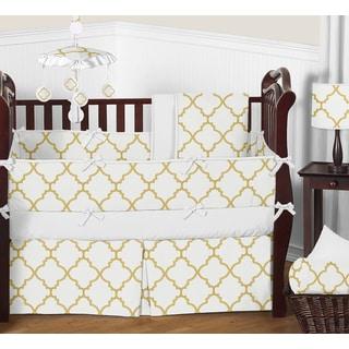 Sweet Jojo Designs White and Gold Trellis Collection 9-piece Crib Bedding Set