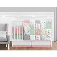 Sweet Jojo Designs Coral and Mint Woodsy Collection 9-piece Crib Bedding Set