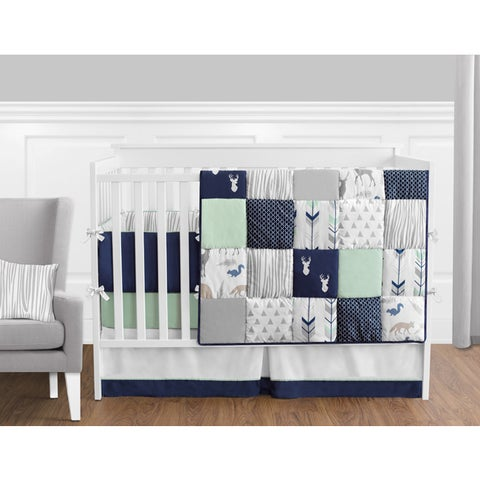 Sweet Jojo Designs Navy and Mint Woodsy Collection 9-piece Crib Bedding Set