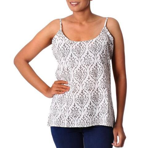Handmade Cotton 'Grey Beauty' Camisole Top (India)