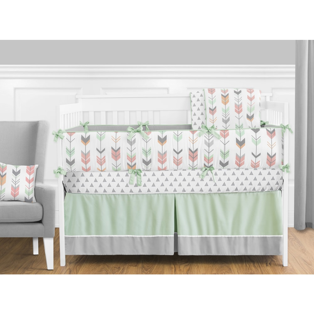 Sweet Jojo Designs Coral and Mint Mod Arrow Collection 9-piece Crib Bedding Set (Crib Size - Mint, Grey, Coral and White)