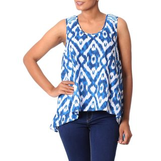 Handmade Cotton 'Abstract Blues' Tank Top (India)