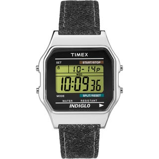 Timex Unisex TW2P77100 Classic Digital Black Denim Strap Watch