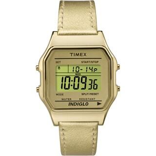 Timex TW2P76900 Unisex Classic Digital Goldtone Leather Strap Watch
