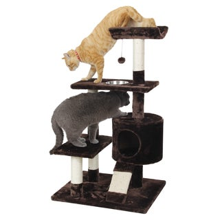 Faux Fur and Sisal Rope 41-inch Deluxe Feeder Perch Cat Tree