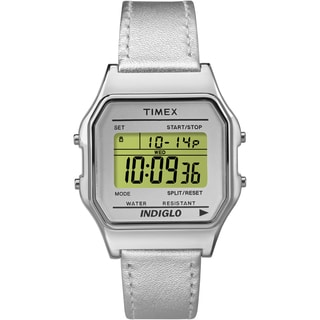 Timex Unisex TW2P76800 Classic Digital Silver-tone Leather Strap Watch