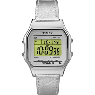 Timex Unisex TW2P76800 Classic Digital Silver-tone Leather Strap Watch