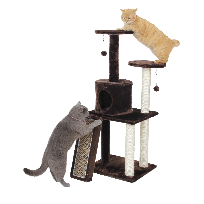 International 46 Inch Playset Cat Tree (Dark Mocha Brown)
