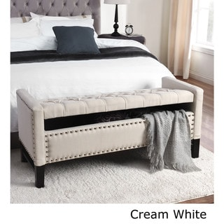 Inspired Home Cabot Contemporary Button Tufted Linen Storage Bench