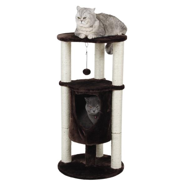 Brown 36-inch Condo Perch Cat Tree