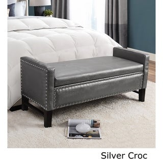 Cabot Contemporary Faux Leather Bench