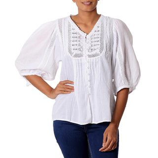 Handmade Cotton 'Snow White Beauty' Blouse (India)
