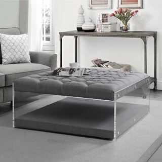 Sophia Contemporary Oversized Linen Clear Acrylic Sides Ottoman