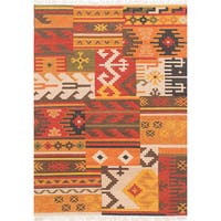 Ecarpetgallery Hand-Woven Izmir Kilim Orange, Red Wool Rug (4'8 x 6'6)